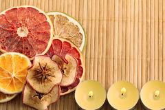 Decorations from dried fruits Stock Images