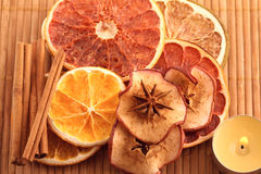 Decorations from dried fruits Royalty Free Stock Image