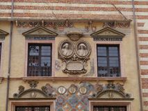 Decorations of a facade in Verona in Italy Stock Photo