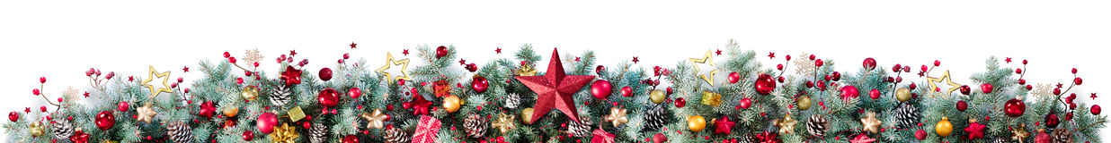 Decorations Of Fir Branches And Baubles On White Royalty Free Stock Images