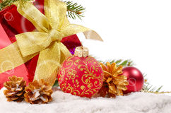 Decorations with gift box Royalty Free Stock Images