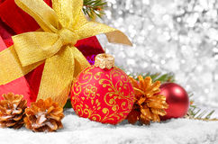 Decorations with gift box Royalty Free Stock Photo