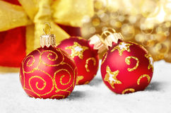 Decorations with gift box Stock Photography