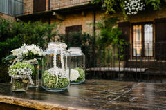 Decorations in glass jars Royalty Free Stock Photo