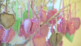 Decorations of hearts are hanging from tree. Dynamic change of focus. Close up. Decorations pink and green and grey hearts are hanging from flowering tree stock video footage