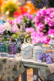 Decorations for home and garden. Shop stand with various attractive decorations for home and garden. Articles made of glass, ceramics, textiles and other Royalty Free Stock Images