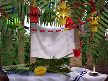 Decorations inside a Sukkah during the Jewish holiday