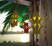 Decorations inside a Sukkah during the Jewish holiday celebration Stock Photos
