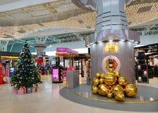 Decorations at KLIA airport, Malaysia. Inside view of KLIA airport with many duty free shops. Kuala Lumpur International Airport is Malaysia's main international Stock Photo