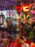 Decorations and lanters for sell at the night market Stock Photos