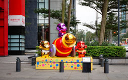 Decorations for Lunar New Year in Taipei, Taiwan Royalty Free Stock Photo