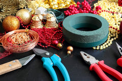 Decorations for making christmas wreath Royalty Free Stock Photo