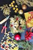 Decorations for making christmas wreath Royalty Free Stock Photography