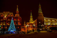 Decorations for New Year and architecture of Moscow. Tverskaya street and Manezhnaya Square stock photos