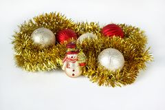 Decorations for the New Year and Christmas. Isolated on a white background. Royalty Free Stock Photos