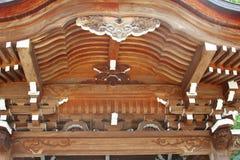 Decorations wooden roof Buddhist temple, Hida Furukawa, Japan stock photos