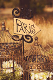 Decorations with Paris sign outdoors Royalty Free Stock Image