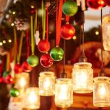 Decorations on a Parisian Christmas market Stock Photos
