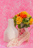 Decorations on pink background. Stock Images