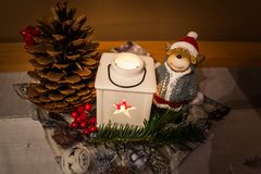 Christmas decoration on the table. Decorations prepared as a Christmas supplement Royalty Free Stock Images