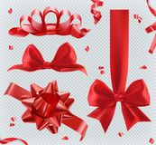 Decorations. Red bows. set of vector icons stock illustration