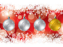 2014 decorations on red christmas greeting Stock Images