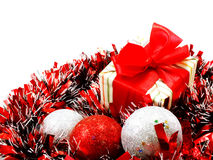 decorations with red and white tinsel chistmas background Royalty Free Stock Images