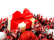 Decorations with red and white tinsel chistmas background Royalty Free Stock Photography