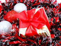 Decorations with red and white tinsel chistmas background Stock Images