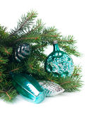 Decorations and spruce branches Royalty Free Stock Photo