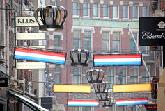 Decorations in the streets of city The Hague, Netherlands Stock Photography