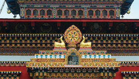 Decorations at the Tibetan temple in Bodhgaya, India Royalty Free Stock Images