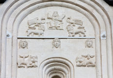 Decorations on walls of Church Intercession of Holy Virgin on Ne Royalty Free Stock Image