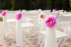 Decorations of wedding chairs, stylish marriage Stock Photo