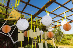 Decorations for wedding. Ornaments and decorations for a wedding in the Tuscan countryside Stock Photo
