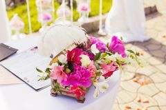 Decorations of wedding table, stylish marriage Royalty Free Stock Image