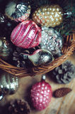 Decorations in a wicker basket Royalty Free Stock Photos