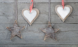 Decorations on wooden background Stock Photo