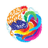 Decorative abstract cock. Ornamental colorful rooster in the for. M of a circle. Drawing Chinese characters of the New Year 2017 royalty free illustration