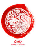 Decorative abstract cock. Ornamental rooster in the form of a circle on red watercolor spot. Royalty Free Stock Images