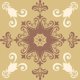 Decorative abstract colorful background, square geometric floral pattern with ornate lace frame, tribal ethnic ornament. Royalty Free Stock Images