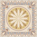 Decorative abstract colorful background, square geometric floral pattern with ornate lace frame, tribal ethnic ornament. Stock Photos