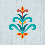Decorative abstract floral ornament on grunge background Royalty Free Stock Photo