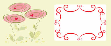 Decorative abstract frame with flowers Stock Image