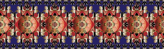 Decorative abstract greek vector seamless borders pattern. Gemetric ornamental 3d background. Geometrical red gold shapes, figures, mandalas, circles, flowers Stock Images