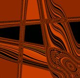 BLACK AND ORANGE ABSTRACT ART WITH LINES AND SHAPES. Decorative abstract lines and shapes in orange and black presenting as an modern piece of art Stock Image