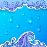 Decorative abstract ocean, clouds and rain vector. Background vector illustration