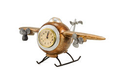 Decorative airplane with clock Stock Images