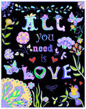 Decorative All you need  love colorful poster Stock Image