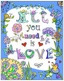 Decorative All you need  love colorful poster Royalty Free Stock Photography